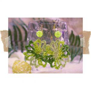 Aros colgantes verde limón